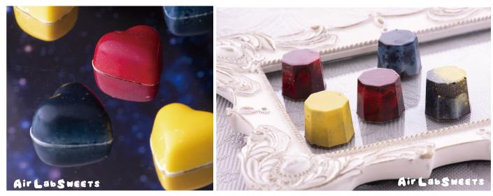 コーティングチョコにも使えます。 色素入りのカカオバター(色粉)など、型に吹き付けてからチョコレートを流し込むと、ツヤツヤのコーティグチョコレートも可能です。