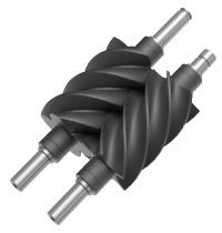 ドレンアタックの影響を受け、高い耐腐食性を要求される2段圧縮機本体の材質にはステンレスを採用。耐熱性、滑り特性、はく離性能にすぐれたテフロンコーティングとの組み合わせにより、腐食による性能低下を防ぎます。