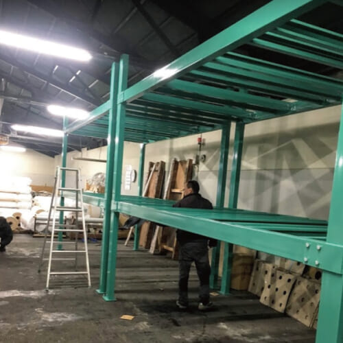 カスタマイズ設計製作 反物 保管棚 ビームラック 織物工場